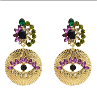 E-5515 Vintage Exaggerating Colorful Crystal Big Evil eye Dangle Earrings for Women Fashion Jewelry