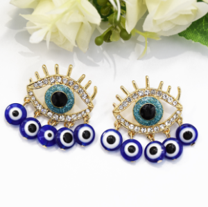 E-5532 2019 Fashion Evil Eye Big Statement Earring Punk Exaggerated Dripping Oil Evil Eye Drop Earring