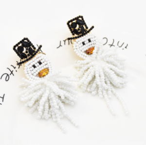 E-5545 Handmade Snowman Earrings For Women Fashion Statement Earrings  Christmas Gift