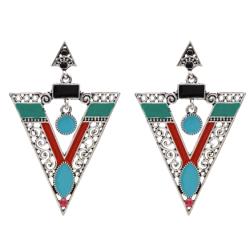 E-5617 Vintage Silver Gold Alloy Triangle Shape Earrings Enamel Rhinestone Drop Earring Women Party Jewelry