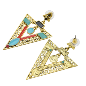 E-5617 Vintage Silver Gold Alloy Triangle Shape Earrings Enamel Rhinestone Drop Earring Women Party Jewelry
