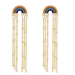 E-5624 Fashion Gold Alloy Rainbow Long Tassel Hanging Earrings for Women Small Beaded Party Earring Jewelry Gift