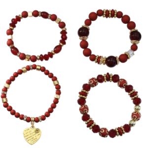 B-1005 4Pcs/Set Bohemian Acrylic Beaded Bracelets with Heart Pendant Women Charm Party Jewelry Gift
