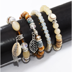 B-1007 4Pcs/Set Handmade Acrylic Beaded Bracelet with Shell Leaf Pendant Women Bohemian Party Jewelry