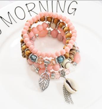 B-1007 4Pcs/Set Handmade Acrylic Beaded Bracelet with Shell Leaf Pendant Women Bohemian Party Jewelry