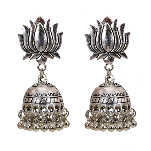 E-5713 Vintage bell tassel earrings ethnic style gold and silver bell hollow earrings jewelry
