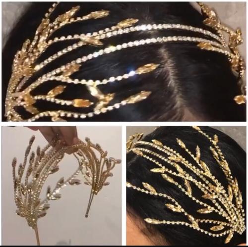 F-0755 Korean handmade shiny crystal tassel hair band headdress bridal dress accessories bridal Jewelry