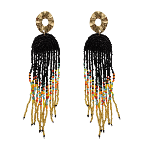 E-5742 Bohemian Alloy Resin Beads Long Tassel Drop Earrings for Women Statement Party Jewelry