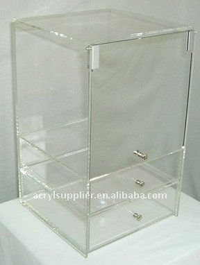 clear acrylic 3-tier makeup organizer drawers cabinet