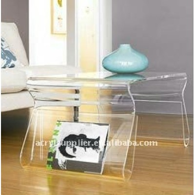 Modern acrylic Coffee Table with Magazine Rack