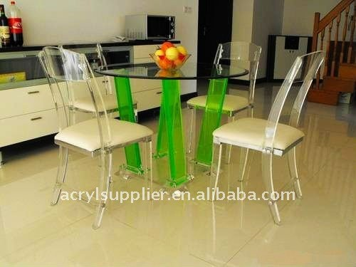 restaurant dining acrylic console desk with chairs