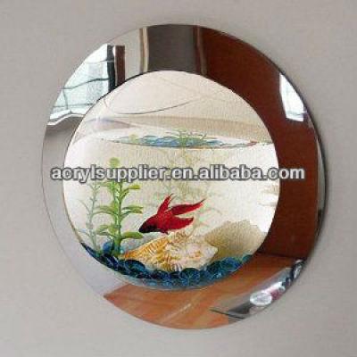 Fashion Mirror edge clear acrylic mini wall mounted fish tank
