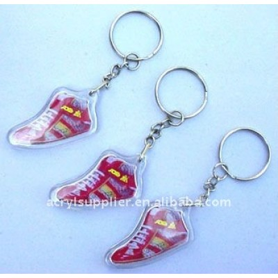 Acrylic crafts with plastic keychain /Plastic gifts/Fancy gift/Couple souvenirs/promotional acrylic craft/gift souvenir