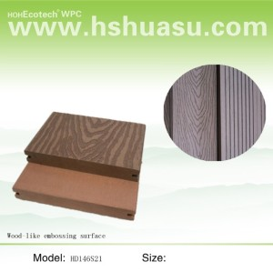 wpc decking with wood grain