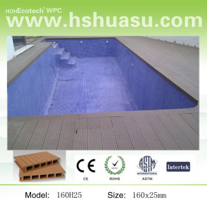 150mm*25mm two sides grooved composite decking--wood+HDPE