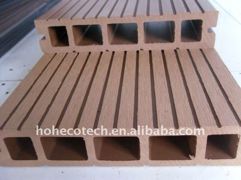 Green deco material wood plastic wpc outdoor hollow for Outside decking material