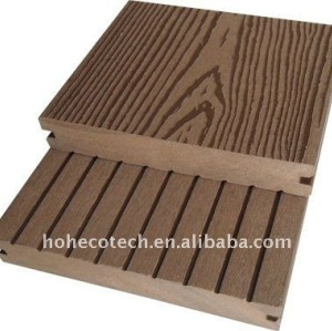 Grooved surface WPC decking tiles wood plastic composite flooring