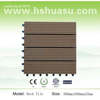 with plastic base-wood color vinyl deck tile