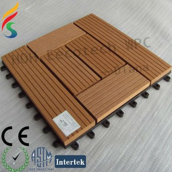wood plastic composite deck tile