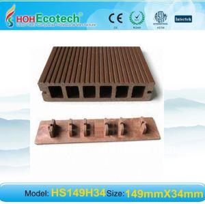Decking composé en plastique en bois IMPERMÉABLE À L'EAU/decking composé wpc extérieur de plancher avec le plancher d'agrafe/accessoires WPC