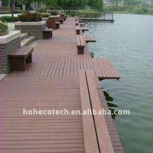 Le decking composé en plastique en bois de bâtiment de wpc matériel imperméable à l'eau de decking couvre de tuiles le decking en plastique composé