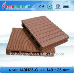 Populaire européen wpc decking eco/plancher decking creux 140*25 mm