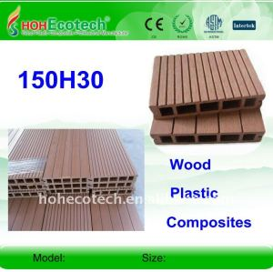 Plástico de madera wpc decking compuesto/suelo 150*30mm ( ce, rohs, astm, iso 9001, iso 14001, intertek ) wpc decking compuesto