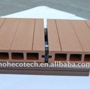 Luce cava 150*25mm wpc legno decking composito di plastica/pavimentazione ( ce, rohs, astm, iso 9001, iso 14001, intertek ) wpc ponte di legno