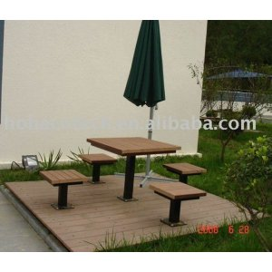 Outdoor furniture, wood looking garden leisure desks and chairs