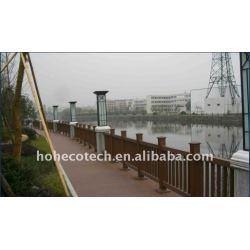 健康な設計wpc橋手すり防水橋柵木製のプラスチック合成階段柵