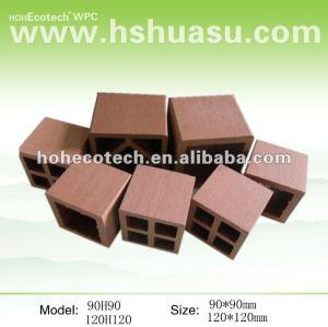 Base extérieure composée en plastique en bois de poteau de barrière de wpc
