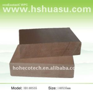 Wpc legno decking composito di plastica/pavimentazione 140*35mm ( ce, rohs, astm, iso 9001, iso 14001, intertek ) wpc decking composito