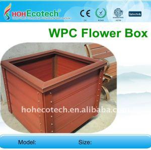 Les composés en plastique en bois fleurissent la balustrade EXTÉRIEURE de wpc de boîte de fleur de la barrière WPC de jardin de boîte/la clôture