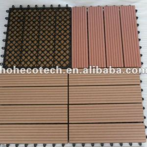 Tuile composée en plastique en bois de conception de tuiles du plancher 300x300mm de wpc de tuile interne et externe diy bonne de salle de bains