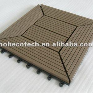 le decking de verrouillage de wpc couvre de tuiles le PANNEAU de plancher de composés de Bois-Plastique de titres du wpc DIY