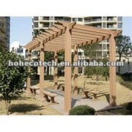 Cedar/copper brown/wood/sandalwood/coffee/grey/dark grey wood plastic composite pergola
