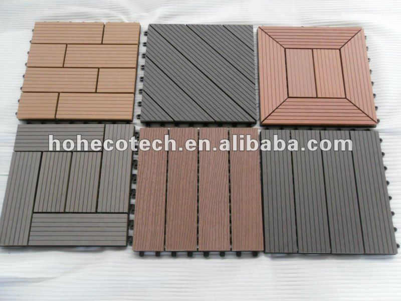 Wpc terrace roof interlocking deck tile diy wood plastic for Plastic decking material