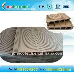Ambiente amichevole, 100% riciclabile 150*25mm levigatura plastica legno wpc decking composito/pavimentazione in composito ponti