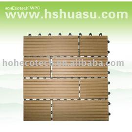 new style! WPC deck tile, composite plastic wood decking floor tiles