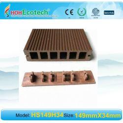 149*34mmwith Endcover WPCの木製のプラスチック合成のdeckingかフロアーリング(セリウム、ROHS、ASTM、ISO 9001、ISO 14001、Intertek)のwpcの木のデッキ