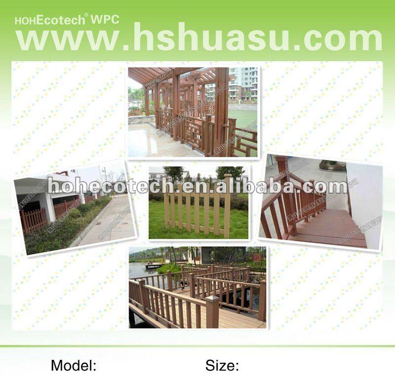 Sensação de madeira natural nova wpc esgrima material/gramado e jardim esgrima/composto exterior cerca/cerca varanda de plástico