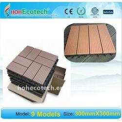 合成のデッキに床を張ること環境に優しく、100%再生利用できる300*300mm紙やすりで磨くWPCの木製のプラスチック合成のdeckingまたは