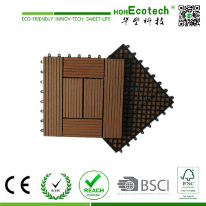 Recycled wood plastic composite deck tiles