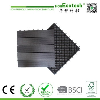 400*400mm Wood Plastic Composite Interlocking Decking Tiles with plastic black base