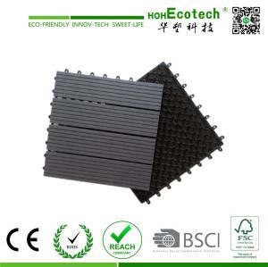 Interlocking WPC decking tiles , outdoor garden flooring covering wpc tiles , plastic back base wpc tile