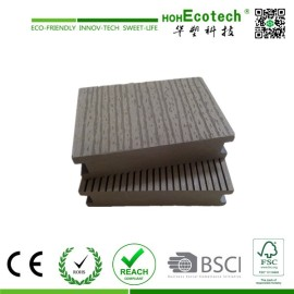 35mm Thickness Solid WPC Board , Embossed Wood Plastic Composite Decking Flooring , Grey Color Wood Plastic Deck