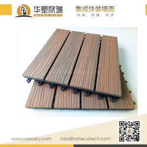 Mix color capped wood plastic composite deck tile