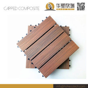 Co-extrusion wood plastic composite deck tile