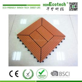 Interlocking wood plastic composite floor tile