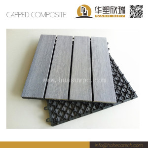 Co-extrusion brushing surface wpc composite interlocking deck tile